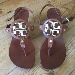 Tory Burch Brown Leather & Gold Logo Holly Sandals